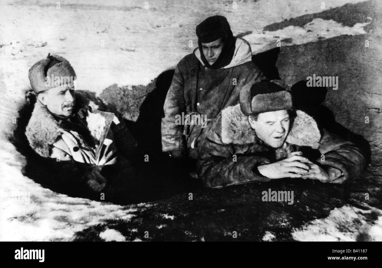 events, Second World War / WWII, propaganda, Eastern Front, German communists in a Soviet dugout, appeal to the - Stock Image