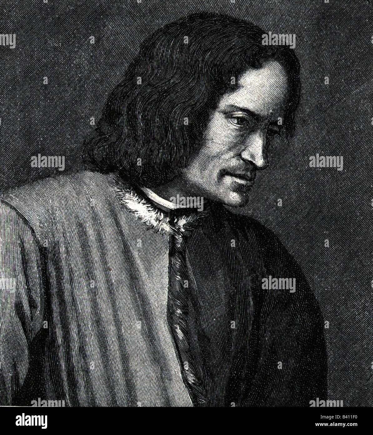 """Medici, Lorenzo I deS , """"the Magnificnet"""",  1.1.1449 - 8.4.1492, ruler of Florence 1469 - 1492, portrait, side view, Stock Photo"""