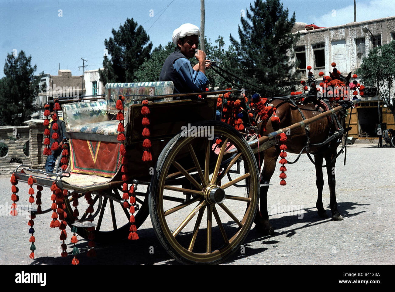 geography / travel, Afghanistan, Herat, hackney, cab, horse, decorated, decoration, , Additional-Rights-Clearances - Stock Image