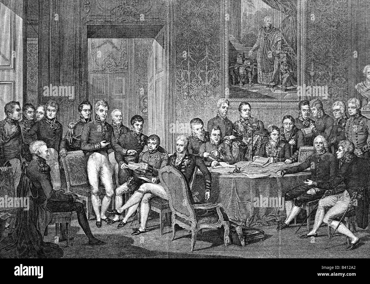 politics, conference, Congress of Vienna, 18.9.1814 - 9.6.1815, assembly of the delegates, 1814, copper engraving - Stock Image