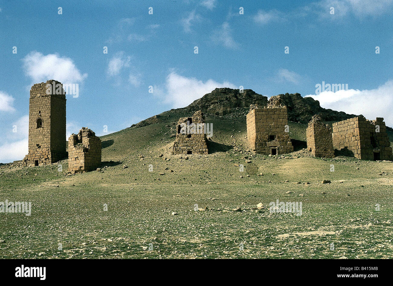 geography / travel, Syria, Palmyra, grave towers of western necropolis, archaeology, ruin, UNESCO, World Heritage - Stock Image