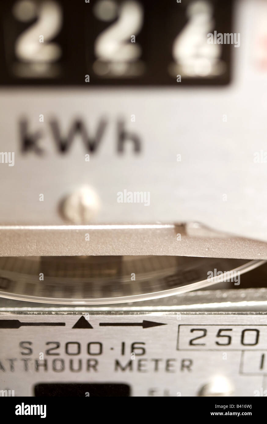 Close up photo of an electricity meter in operation. - Stock Image