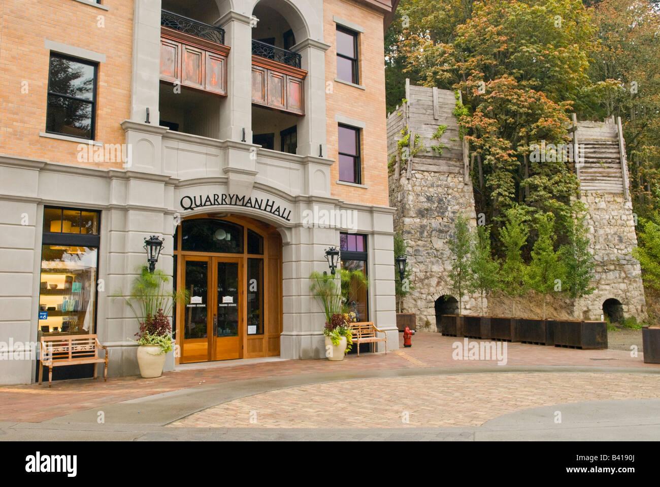 USA, WA, San Juan Island.  Quarryman Hall is new addition to Roche Harbor resort.  Stands next to old lime kilns. - Stock Image