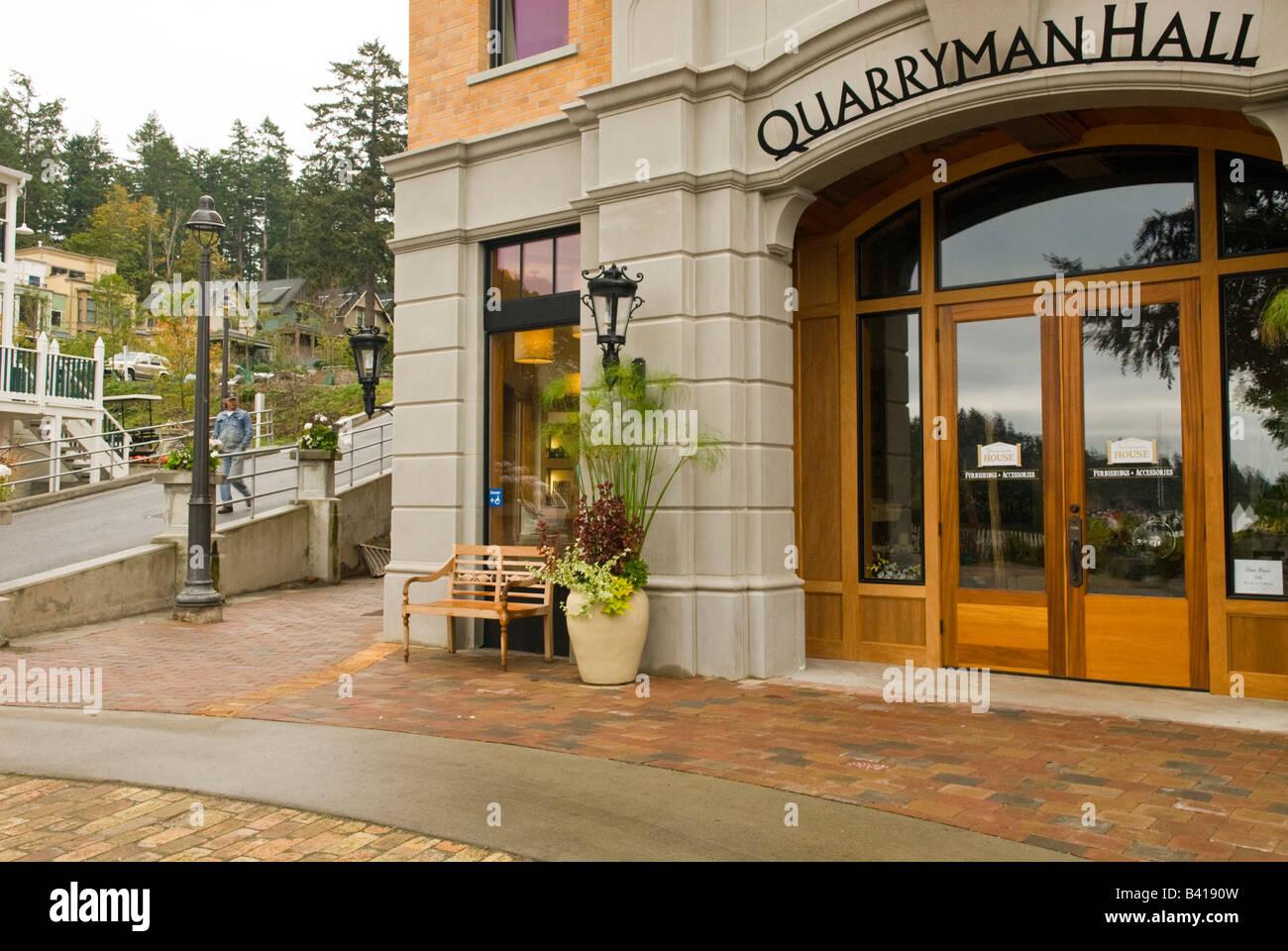 USA, WA, San Juan Island.  Quarryman Hall addition to historic Roche Harbor and Hotel de Haro resort - Stock Image