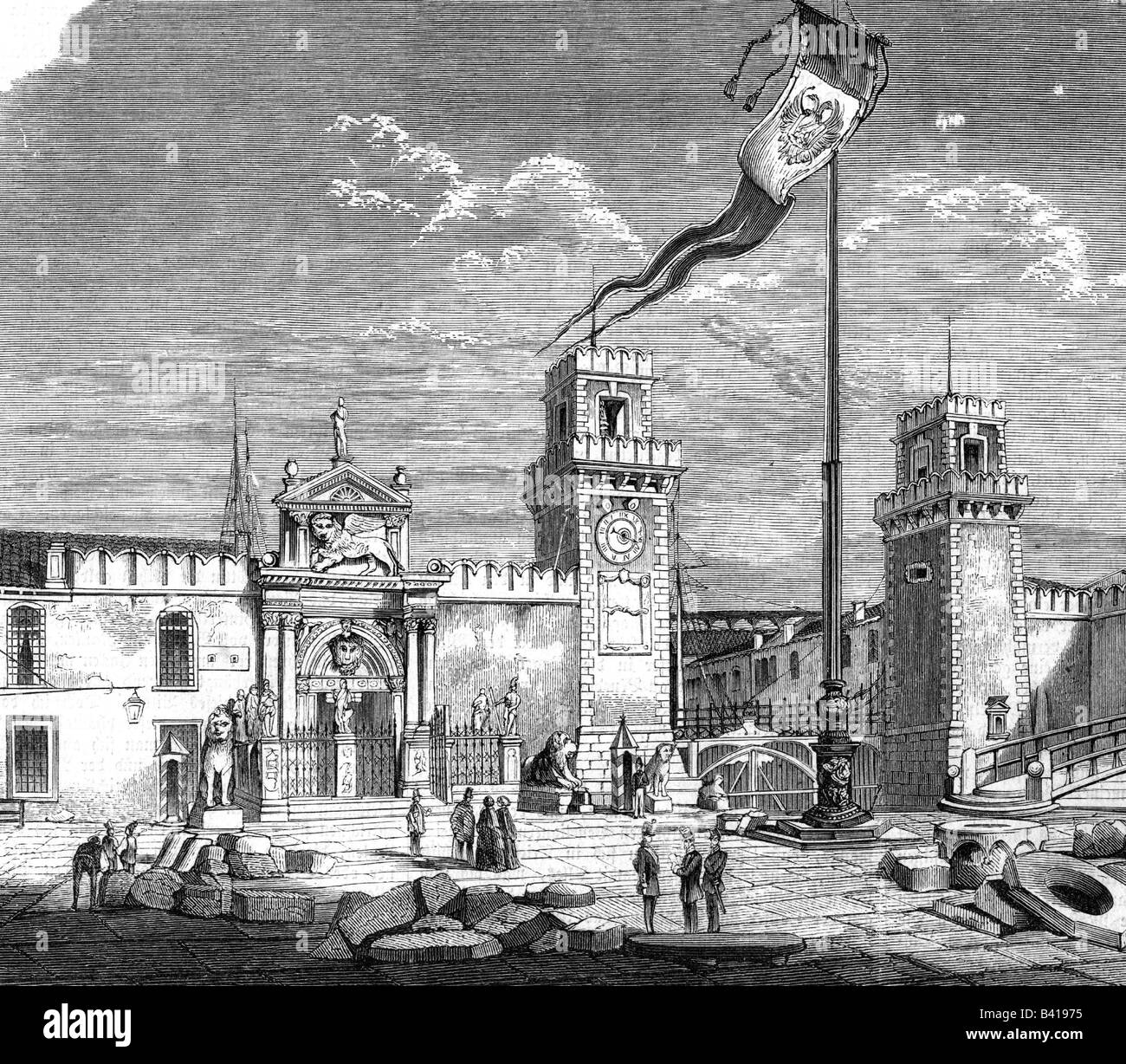 geography / travel, Italy, Venice, buildings, Arsenale, Entrance, engraving, 19th century, historic, historical, - Stock Image
