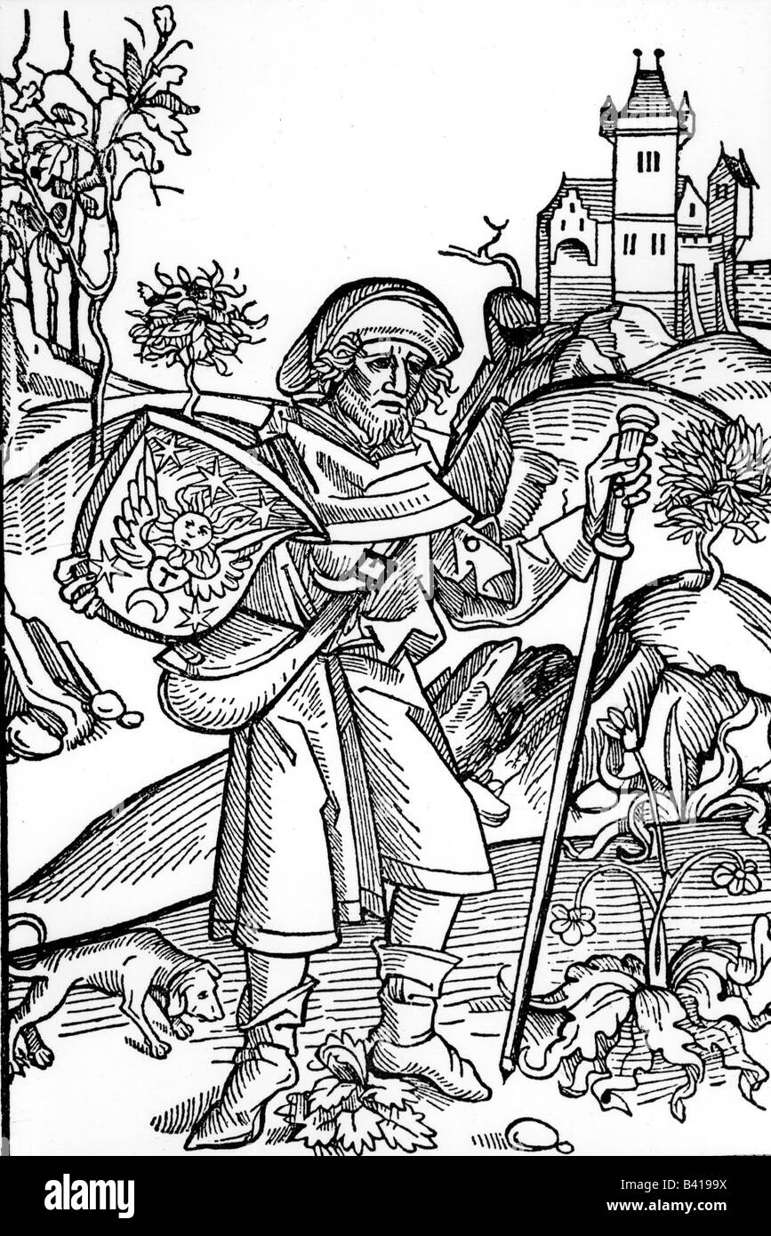 religion, pilgrimage, pilgrims, woodcut for 'Opera' by Johannes von Gerson, 1489, , Additional-Rights-Clearances - Stock Image