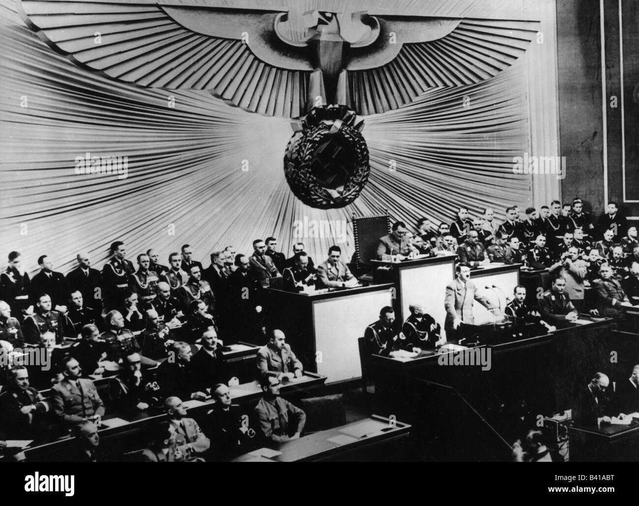 events, Second World War / WWII, Poland 1939, beginning of the war, 1.9.1939, speech of Adolf Hitler, Reichstag - Stock Image
