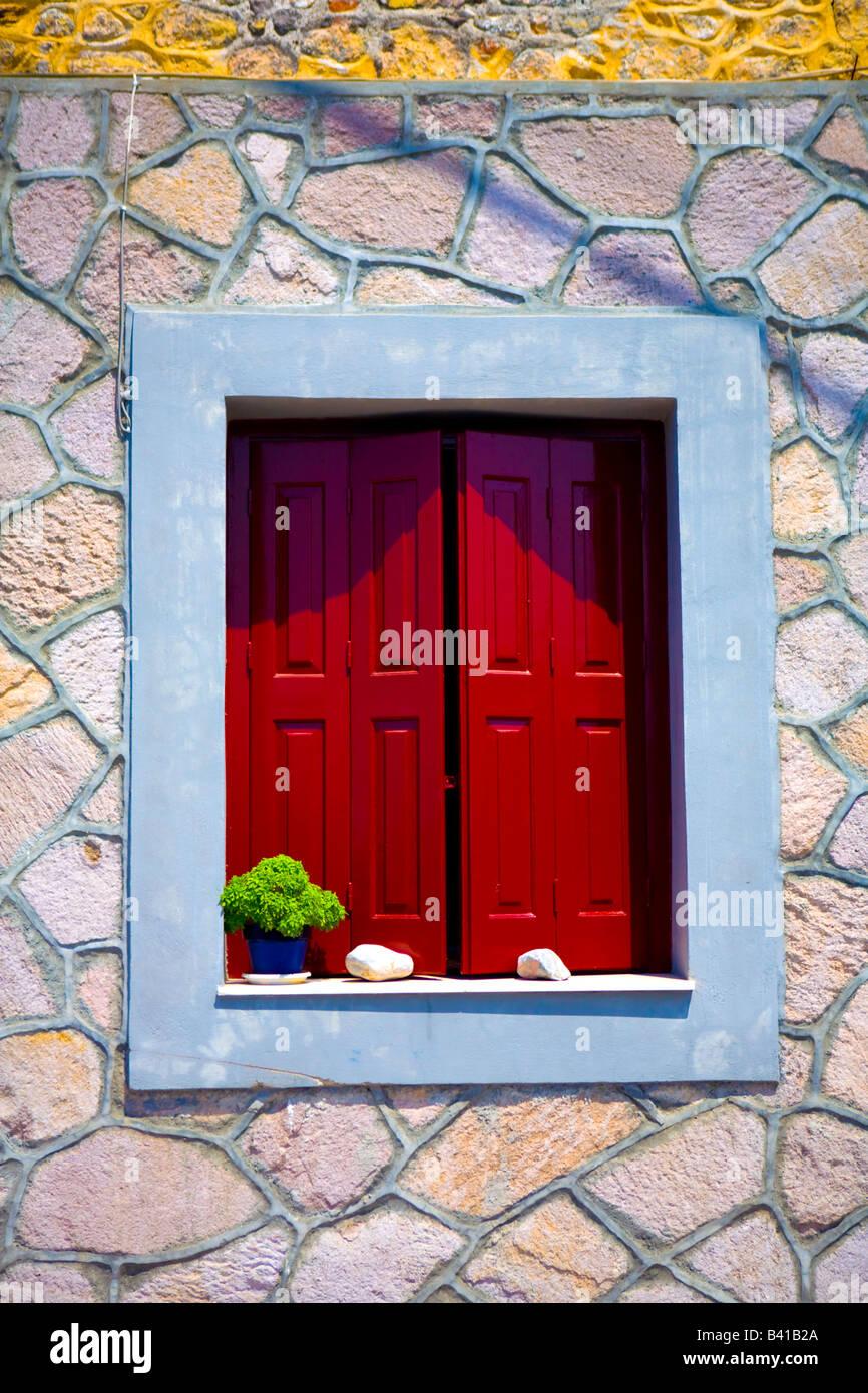 window  in molyvos greece - Stock Image