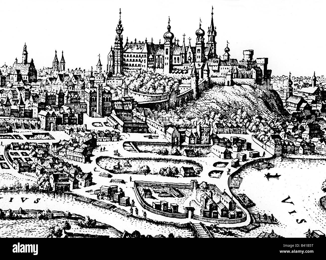 travel / geography, Poland, Cracow, cityscape, engraving by Matthäus Merian, 17th century, historic, historical, Stock Photo