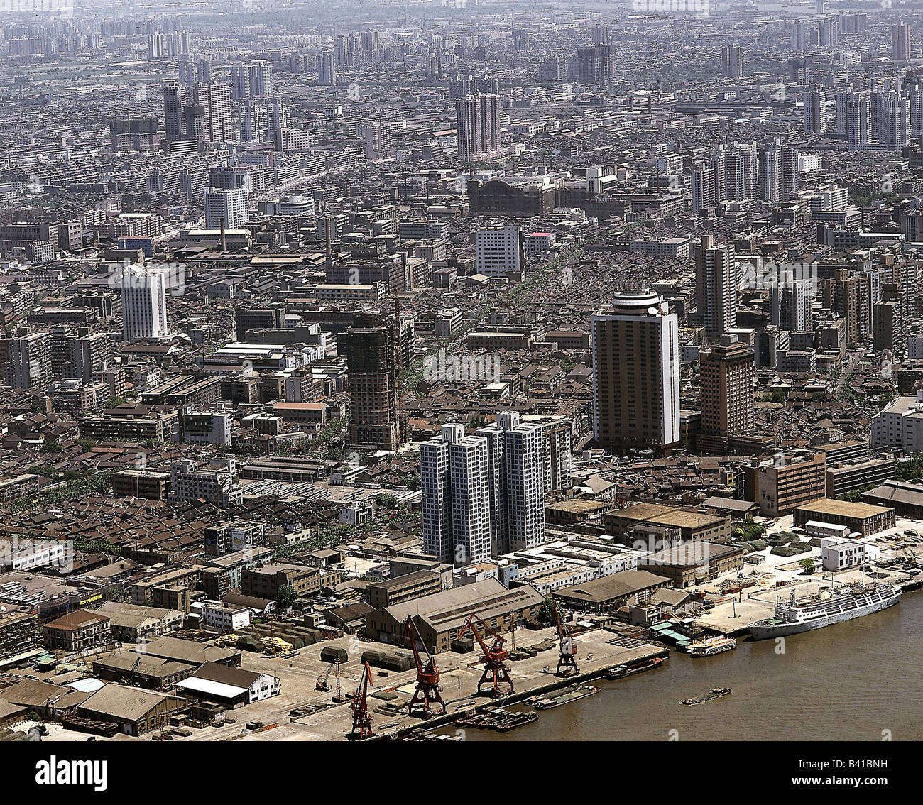 geography / travel, China, Shanghai, Huangpu river and town, metropolis, city, skyscraper, industry, port, Additional - Stock Image