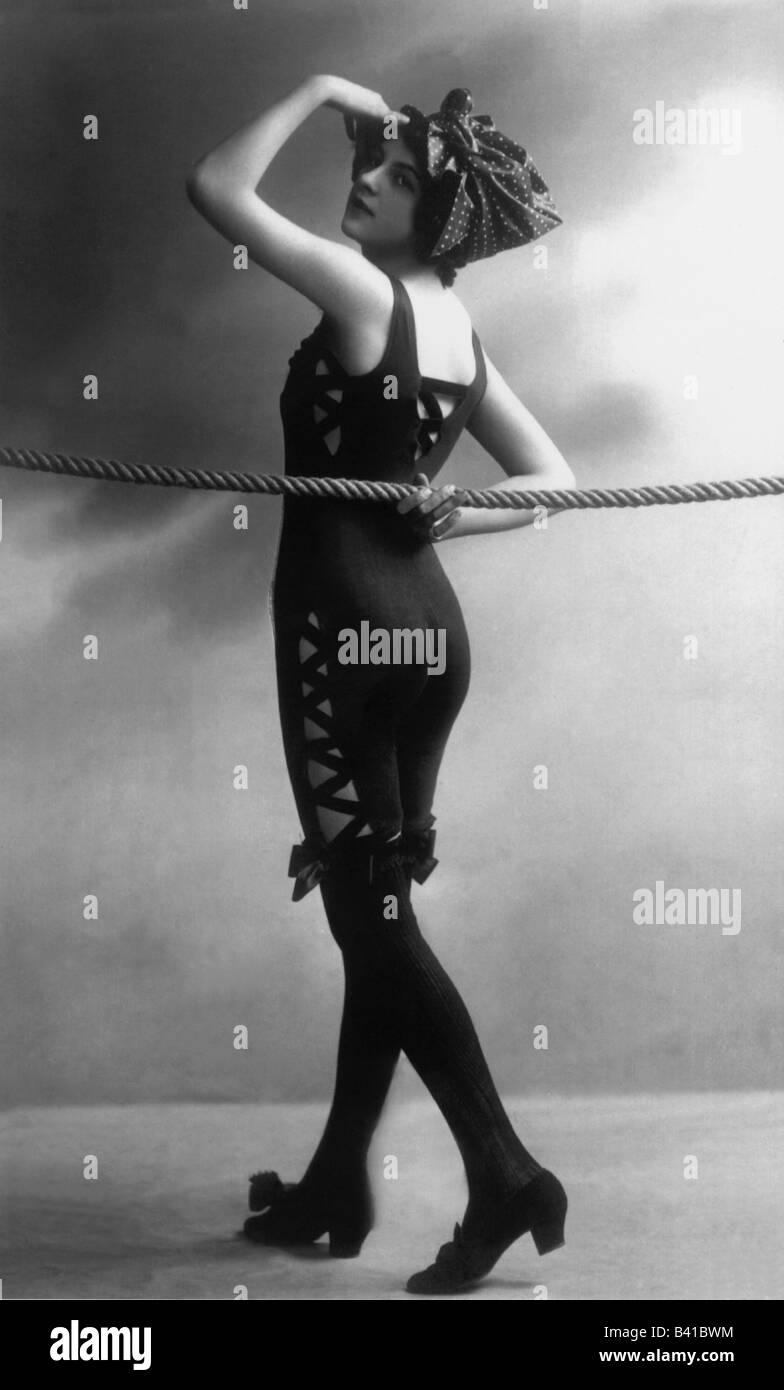 bathing, swimsuit, young woman, wearing swimsuit, studio, 1920, postcard, Stock Photo