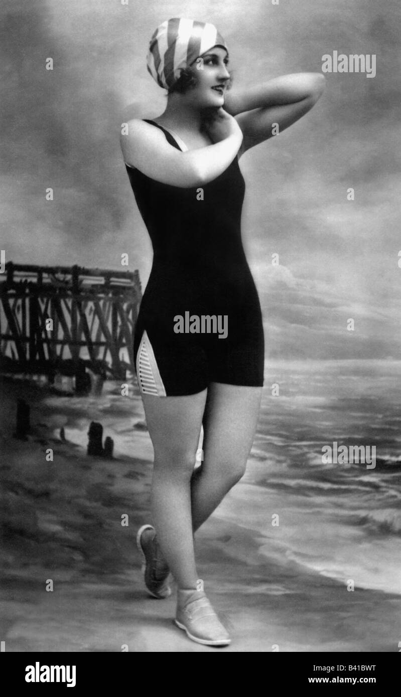 bathing, swimsuit, young woman, wearing bathing suit, on beach, 1920, Stock Photo
