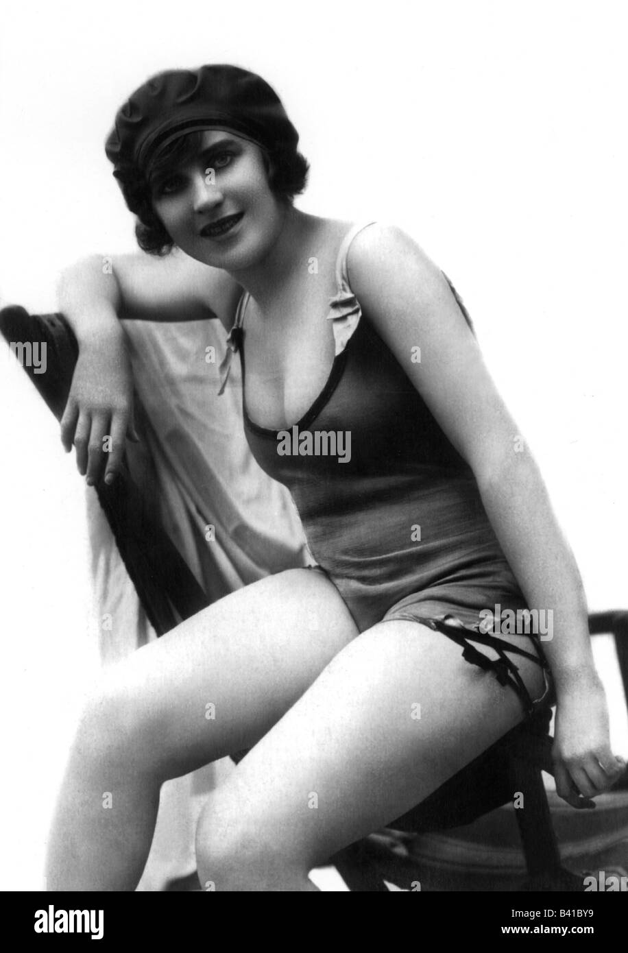 bathing, swimsuit, young woman, wearing swimsuit, half length, studio, 1920, Additional-Rights-Clearances-NA - Stock Image