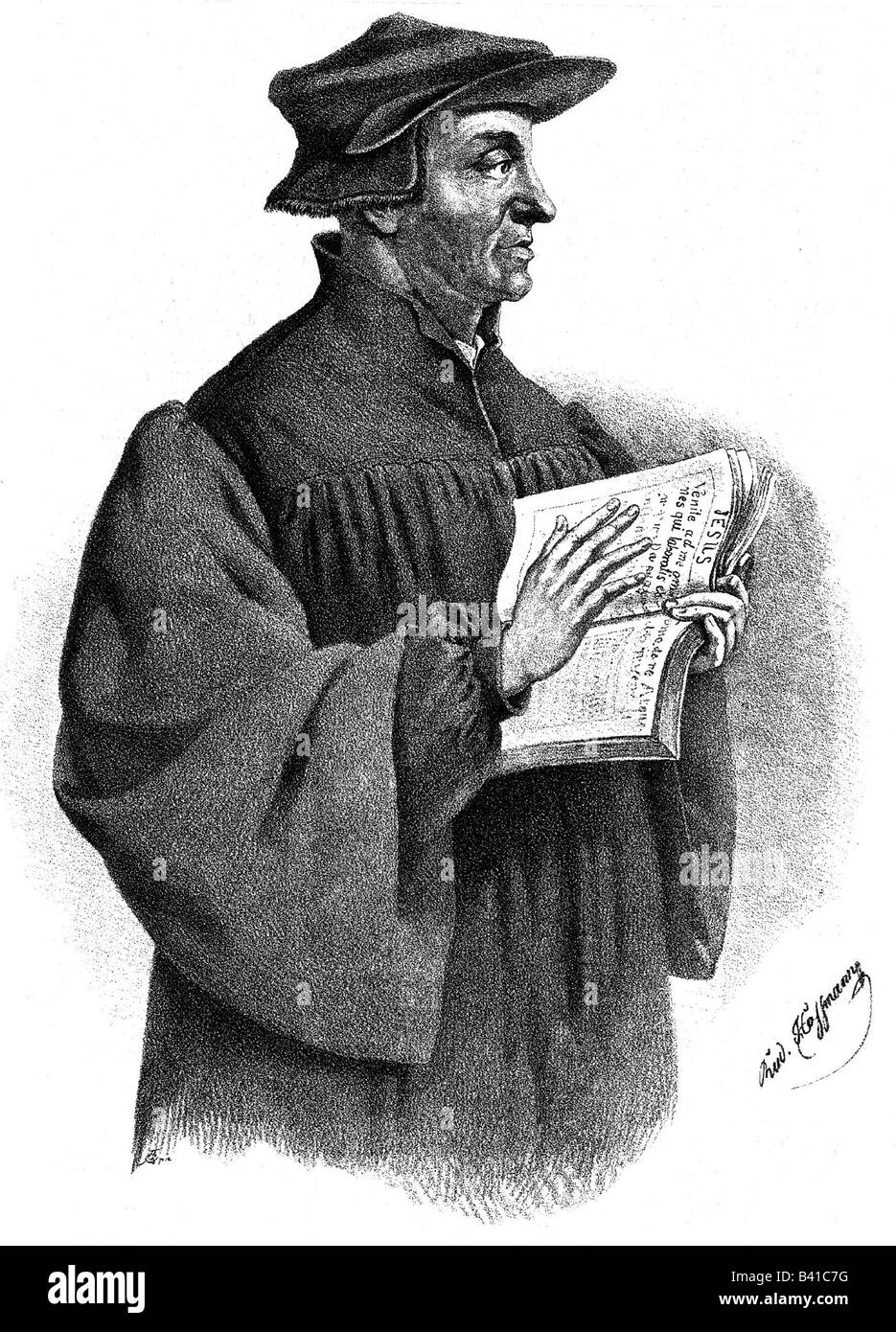 Zwingli, Ulrich, 1.1.1484 - 11.10.1531, Swiss religious reformer, half figure, lithograph,  , Additional-Rights - Stock Image