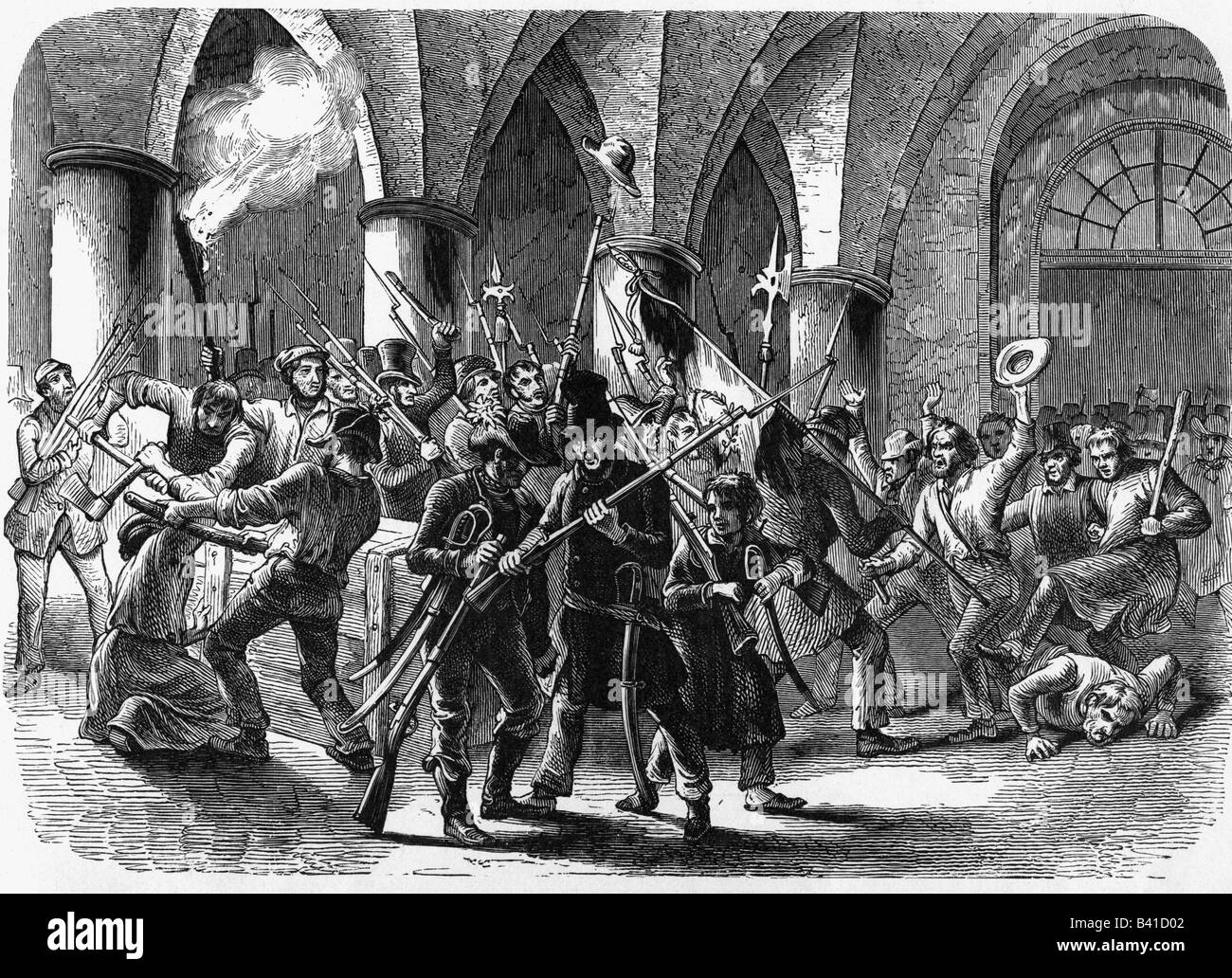 events, revolutions 1848 - 1849, Germany, Prussia, storming of the Berlin armoury, 14.6.1848, wood engraving, 19th - Stock Image