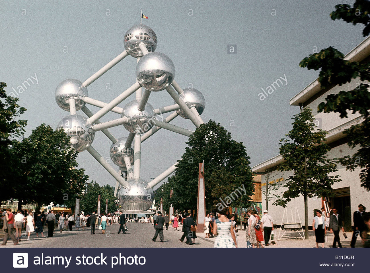 exhibition, world exposition, Atomium, Brussels, Belgium, 1958, Artist's Copyright must also be cleared Stock Photo