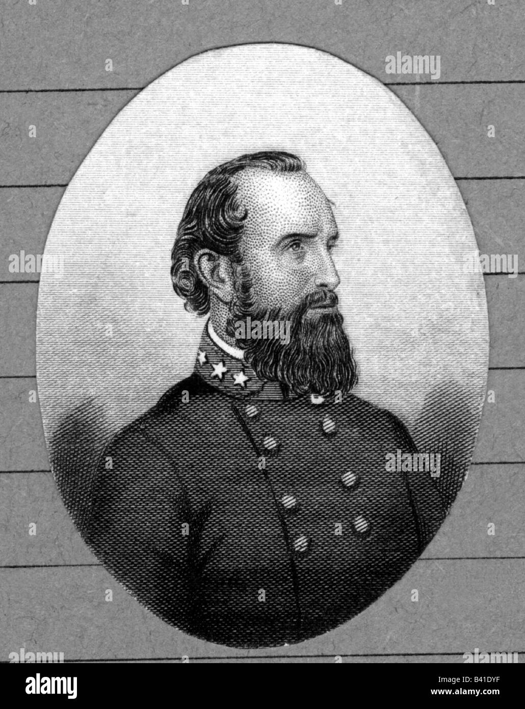 Jackson, Thomas 'Stonewall', 21.1.1824 - 10.5.1863, American General, portrait, steel engraving, 19th century, - Stock Image