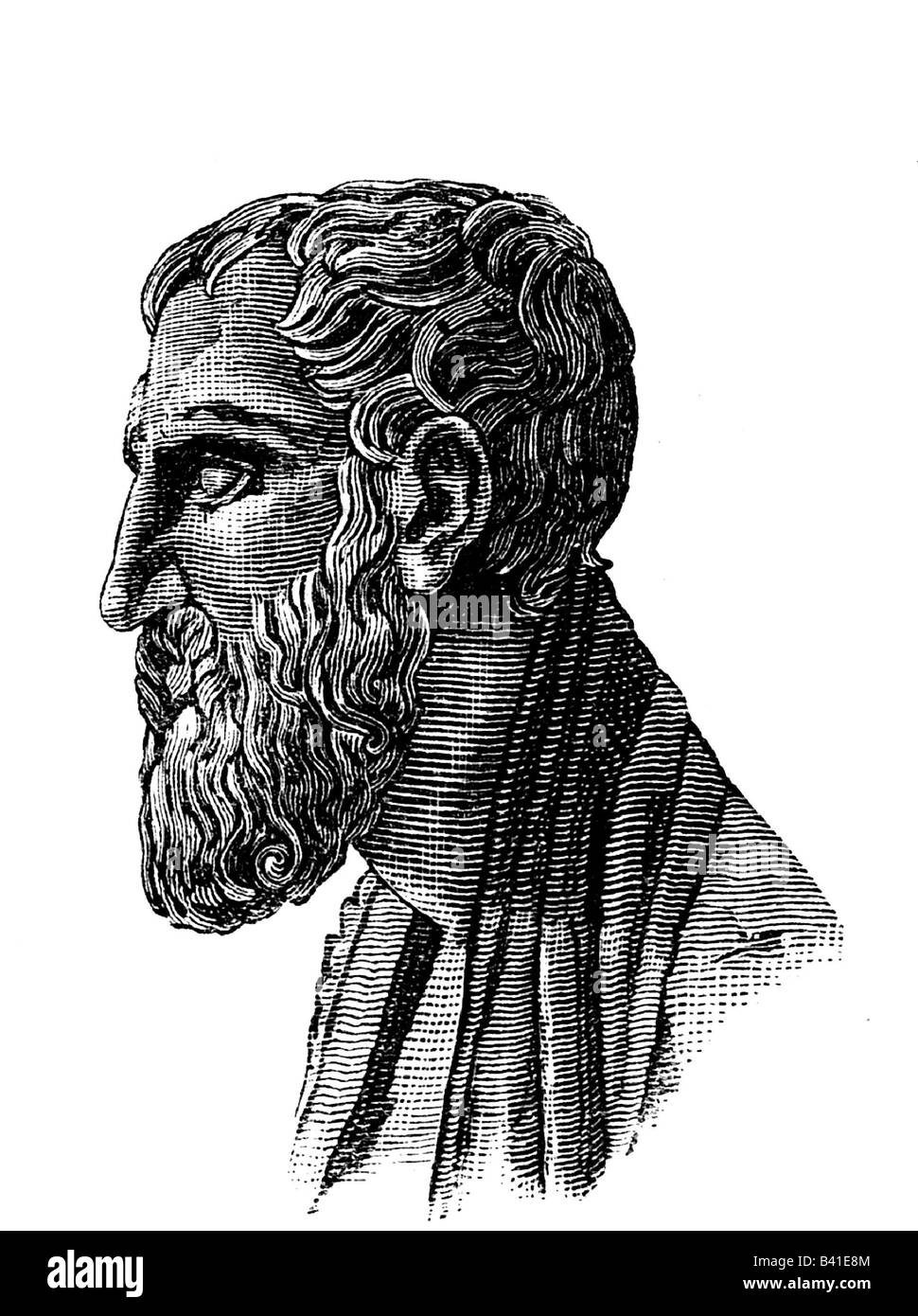 Zeno of Citium, circa 335 - 263 BC, Greek philosopher, portrait, side-face, engraving after ancient bust, 19th century, - Stock Image