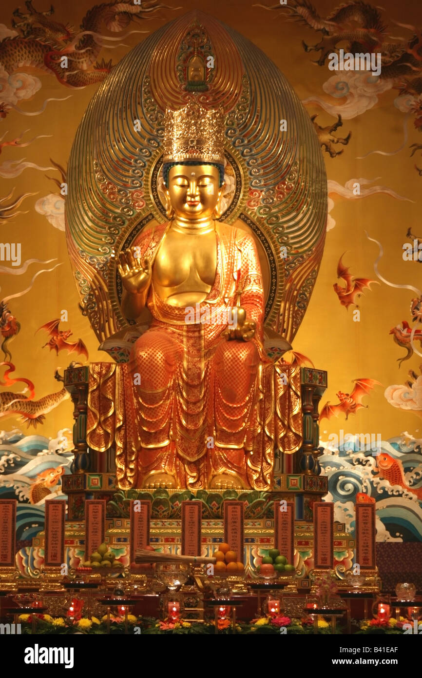 Statue of Buddha , Buddha Tooth Relic temple , Singapore , South East Asia - Stock Image