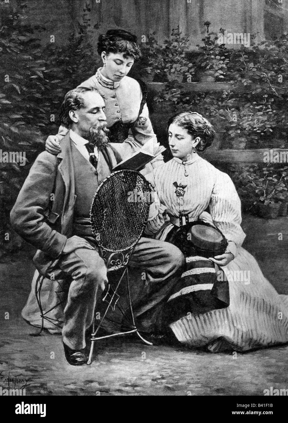 Dickens, Charles, 7.2.1812 - 9.7.1870, english author / writer, with his daughter Kate and Marie in the garden, - Stock Image