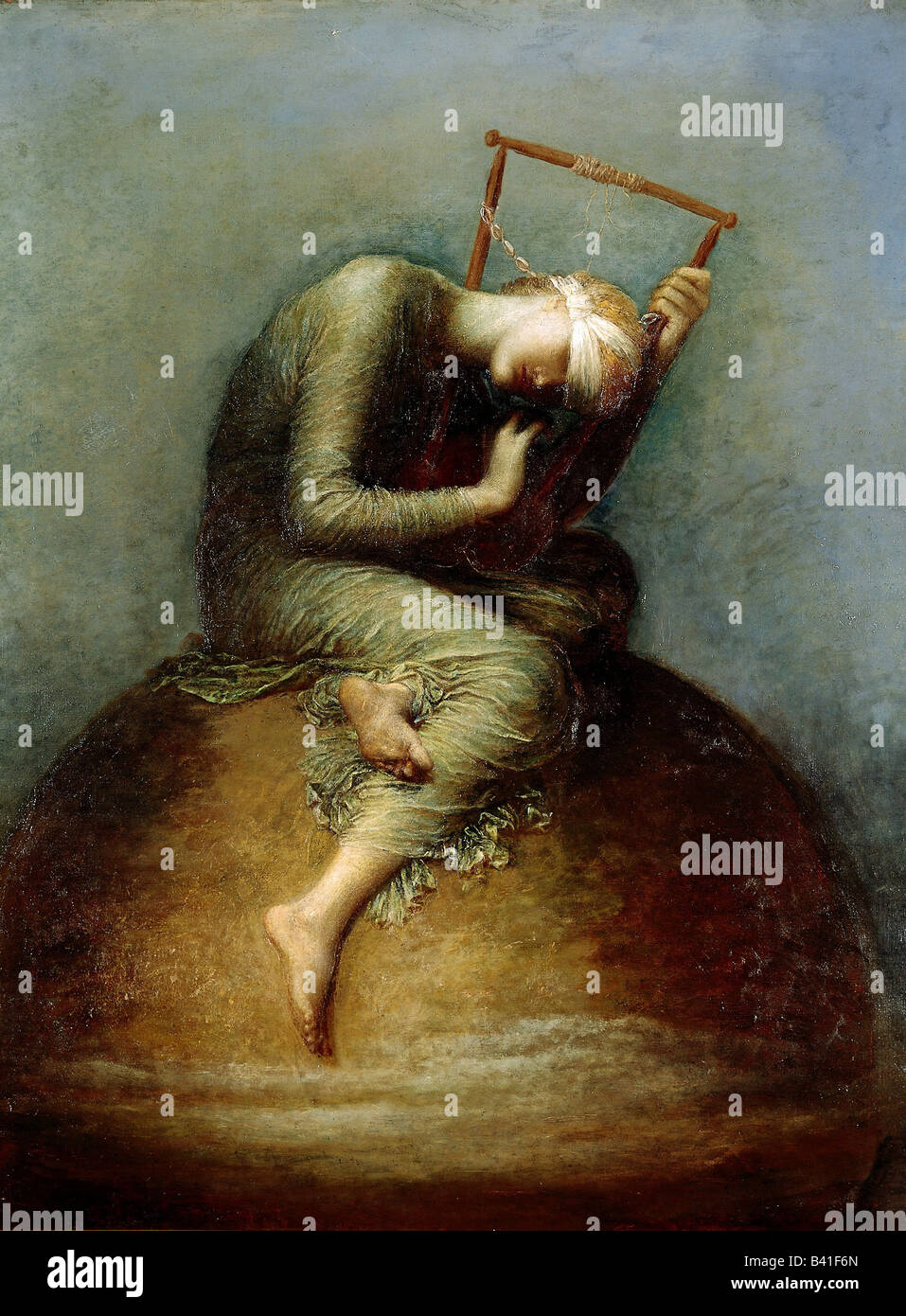 fine arts - Watts, George Frederic (1817 - 1904), painting, 'Hope', 1885, oil on canvas, 141 x 110 cm, Tate - Stock Image