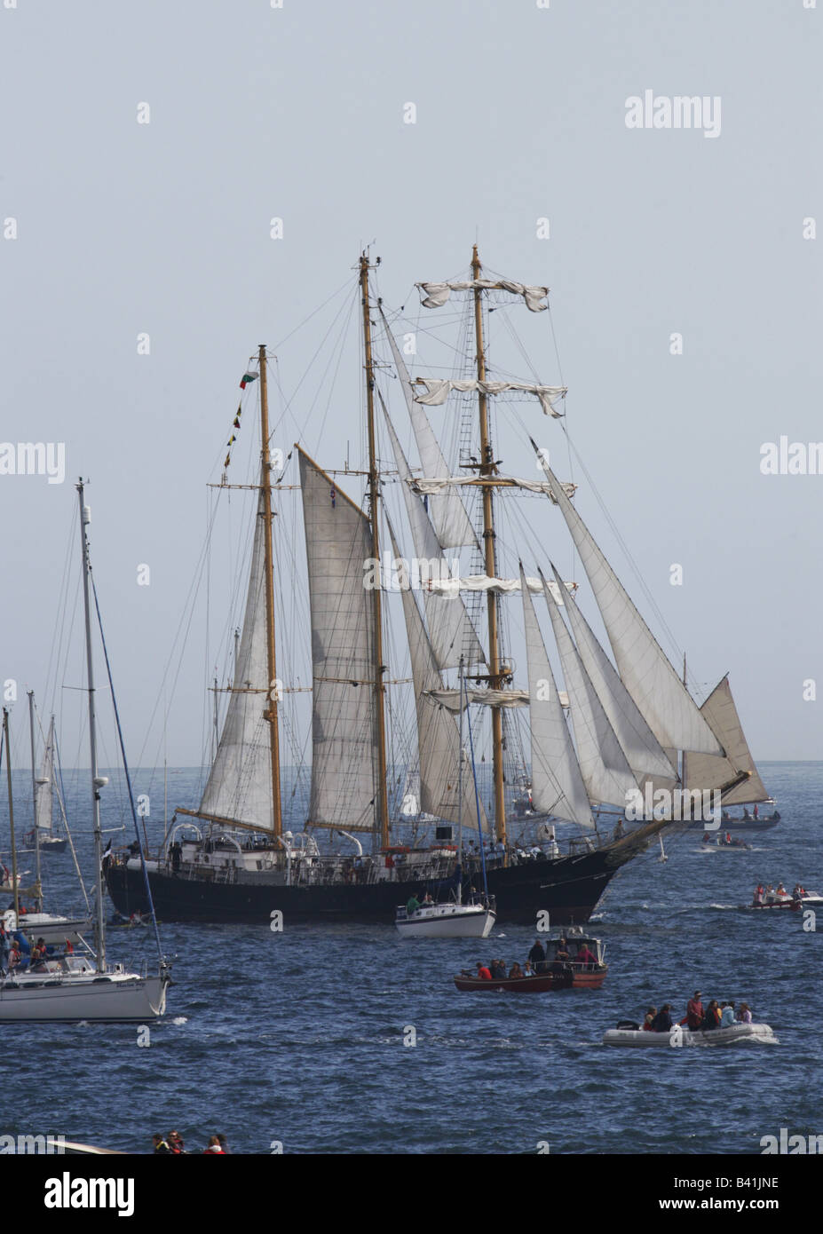 funchal 500 tall ship ships race falmouth cornwall england uk - Stock Image