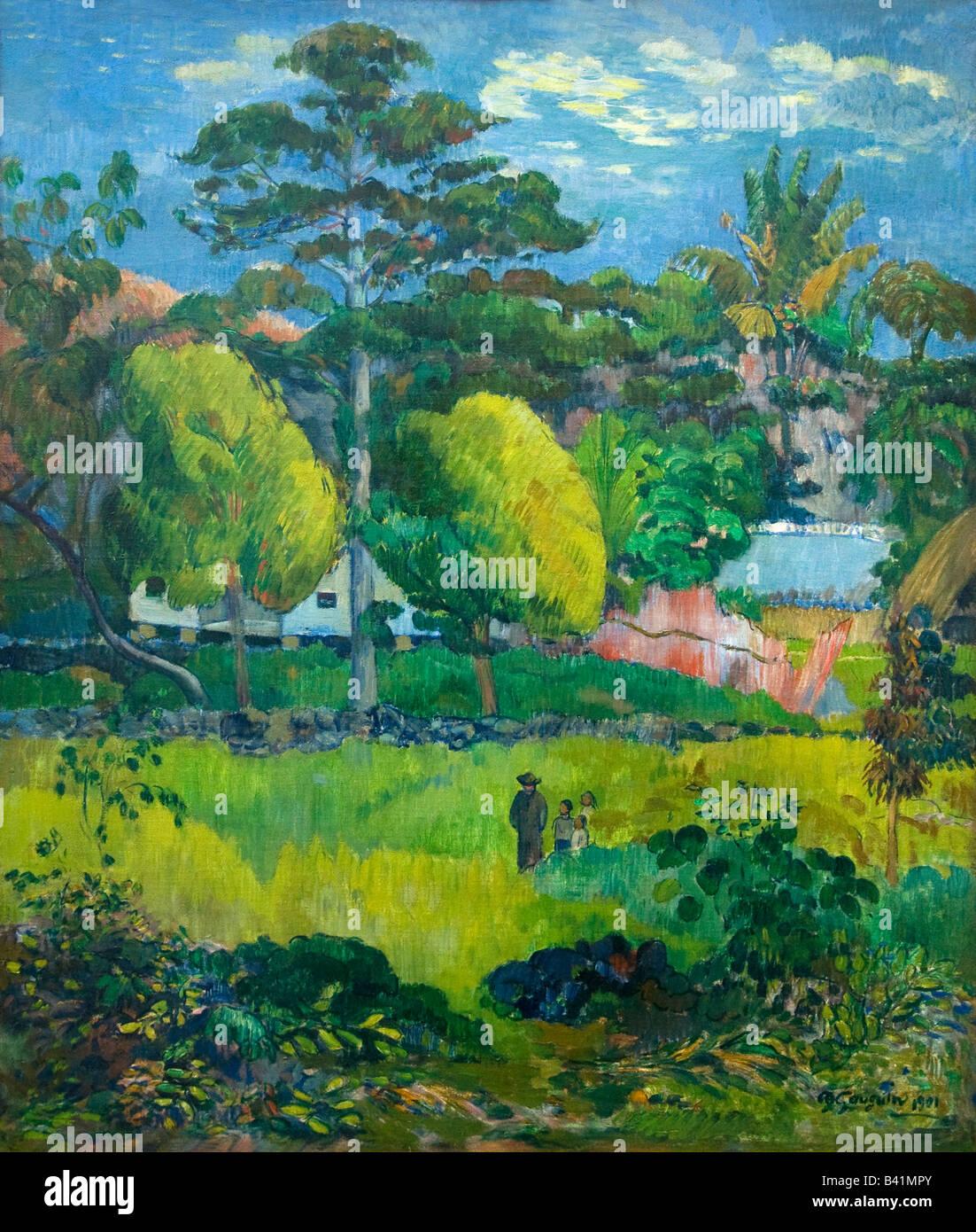 Paysage Landscape painted by Paul Gauguin 1901 Musee de L'Orangerie Paris France - Stock Image