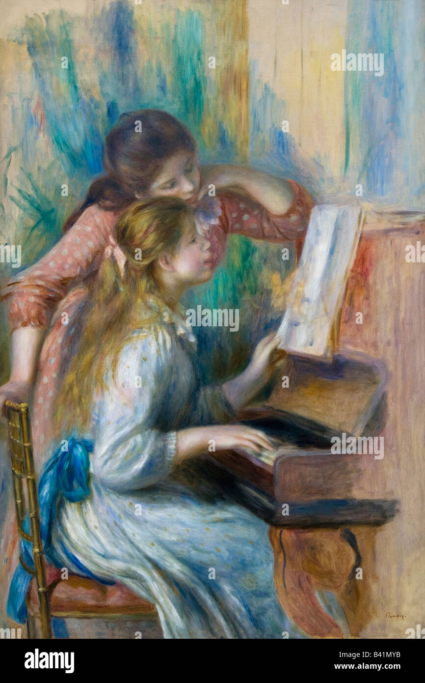 Young Girls at the Piano 1892 Pierre-Auguste Renoir Musee de L'Orangerie Paris France Europe EU - Stock Image