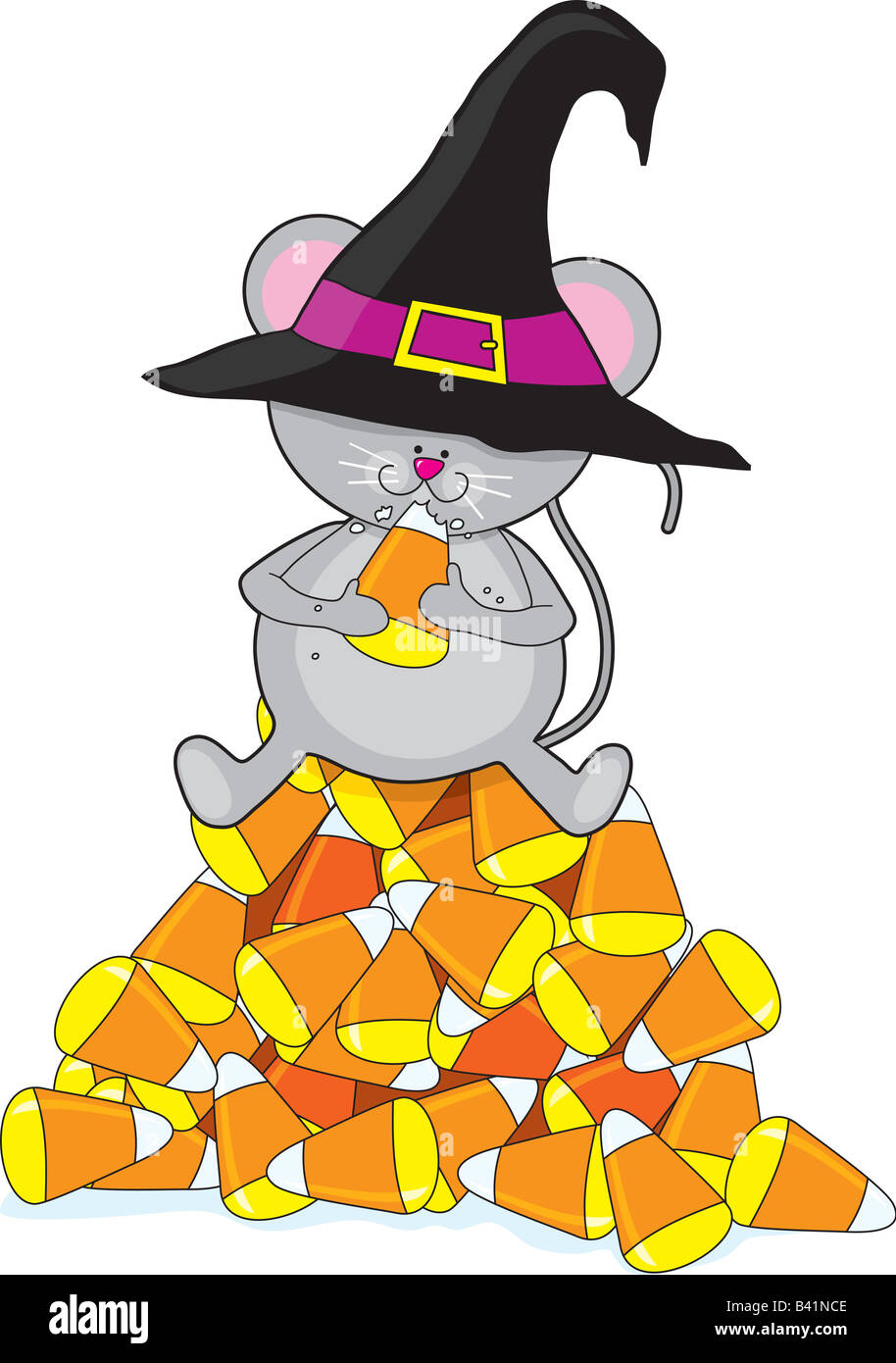 a little mouse sitting on top of a pile of halloween candy corn