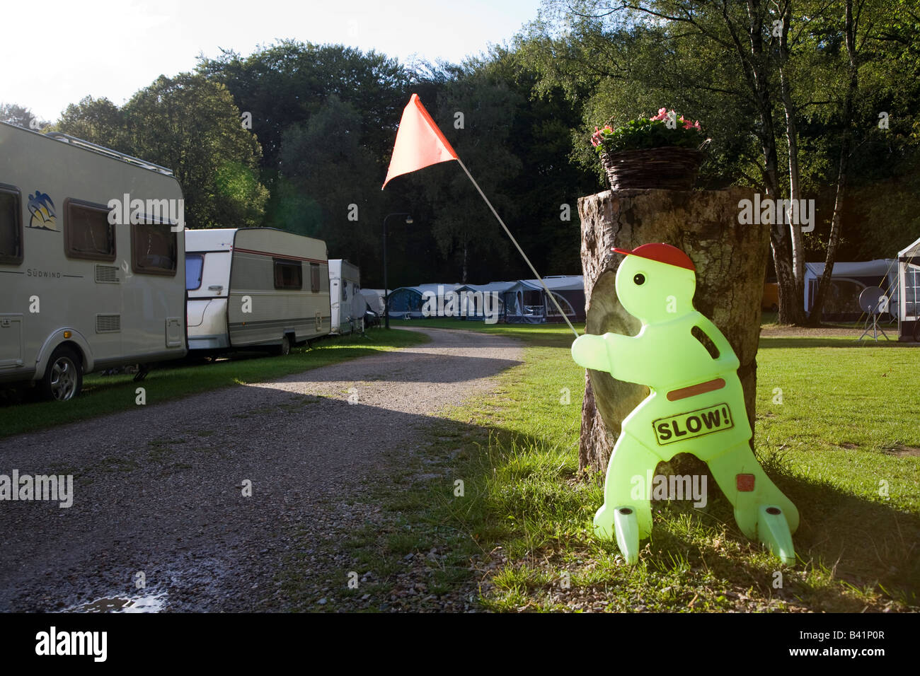 Slow sign in campsite Netherlands - Stock Image