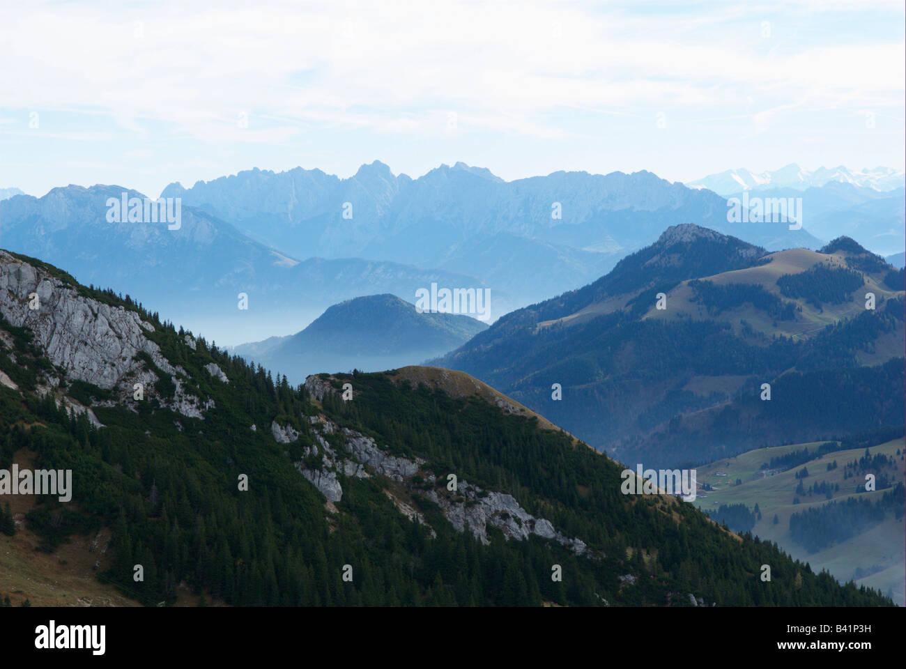 Bavarian foothills of the alps, outlook from Wendelstein, look at Karwendelgebirge - Stock Image