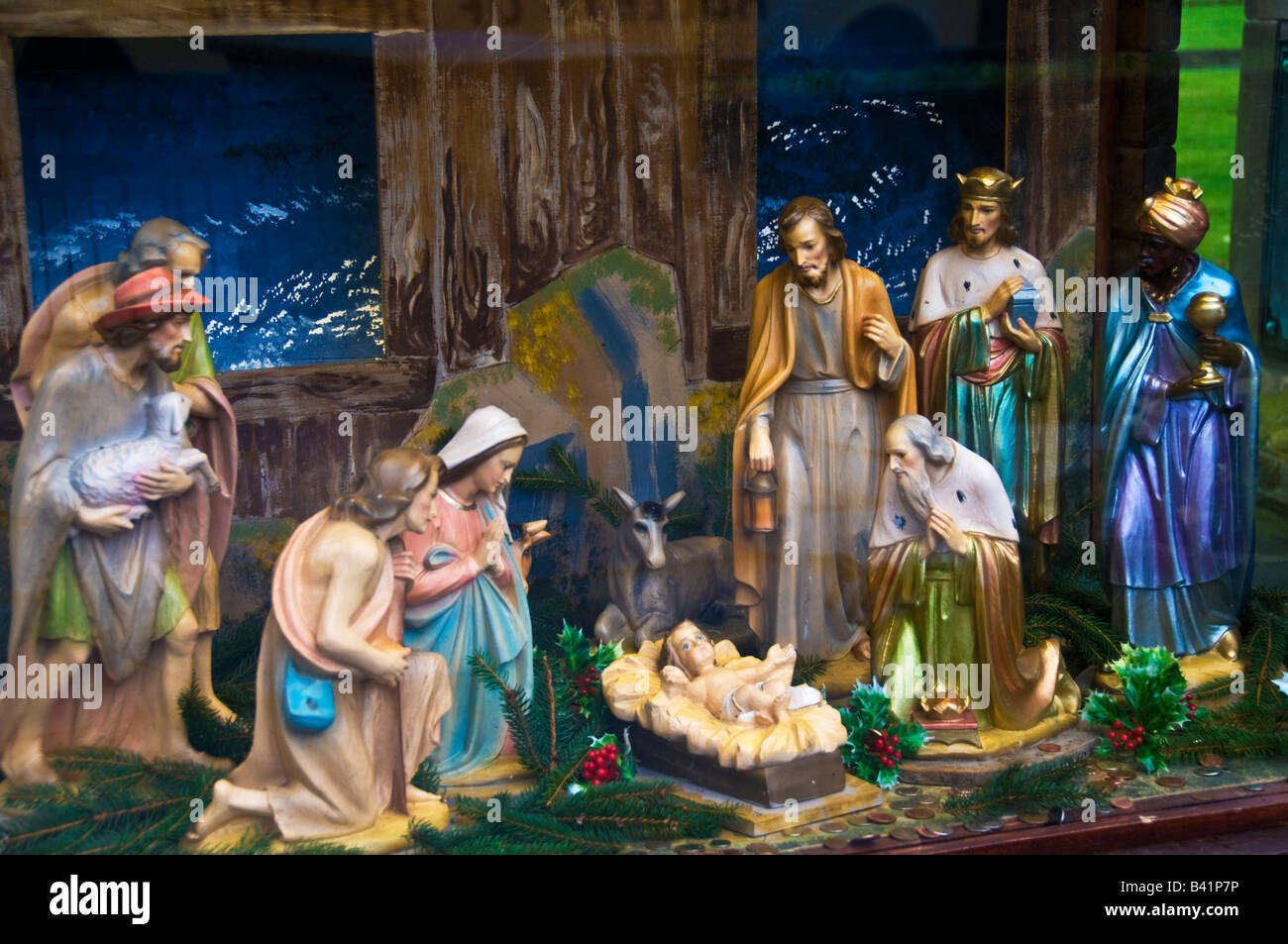 Christmas Nativity.Christmas Nativity Scene In Church Derbyshire England Stock