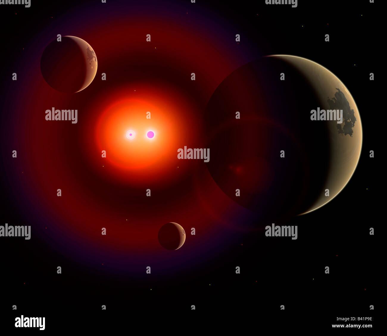 Binary Star System - Stock Image