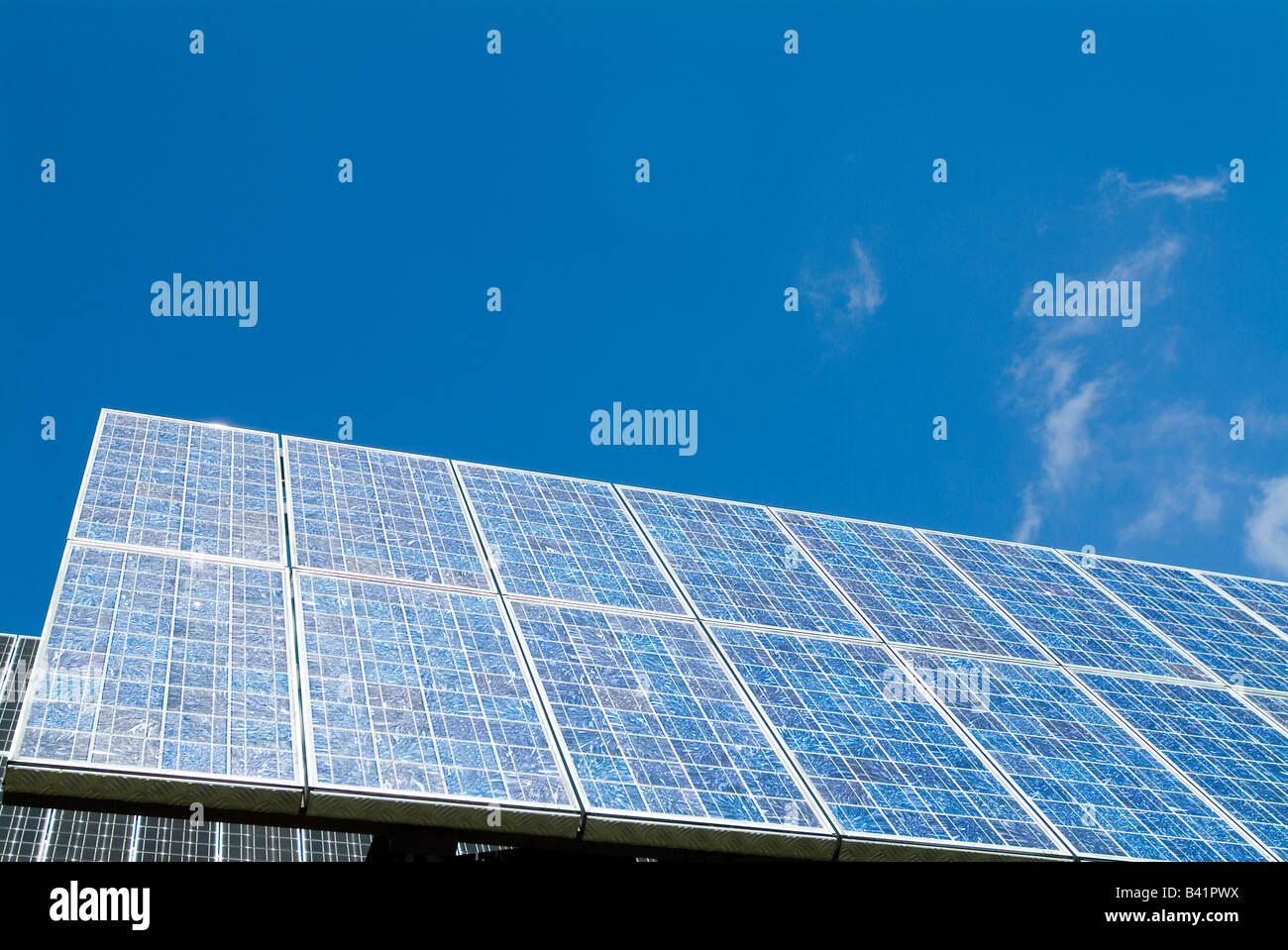 Solar Cells and sky with clouds - Stock Image