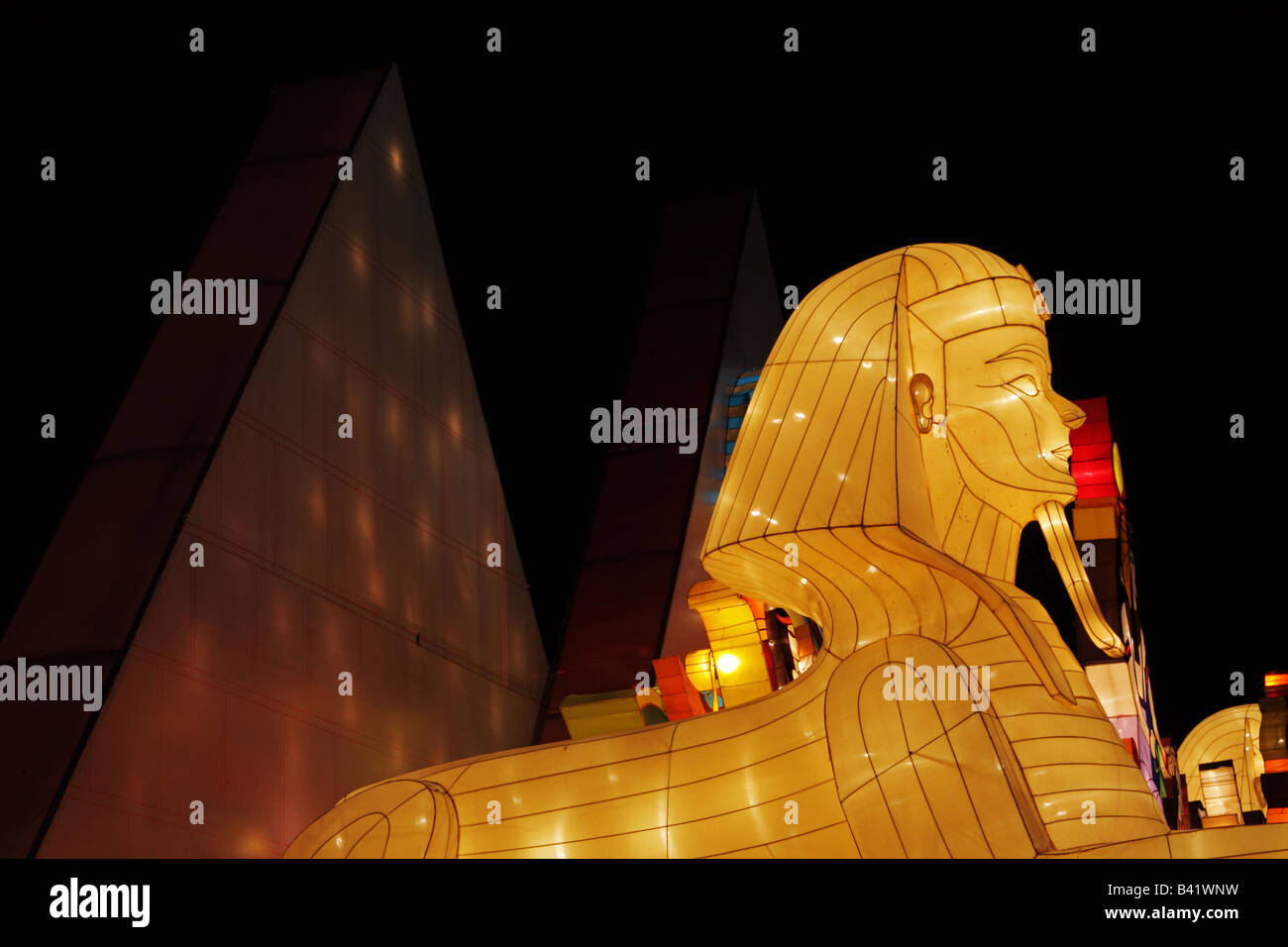 Sphinx and Pyramid in 2008 Toronto Chinese Lantern Festival featuring craft lanterns from Zigong Sichuan China - Stock Image