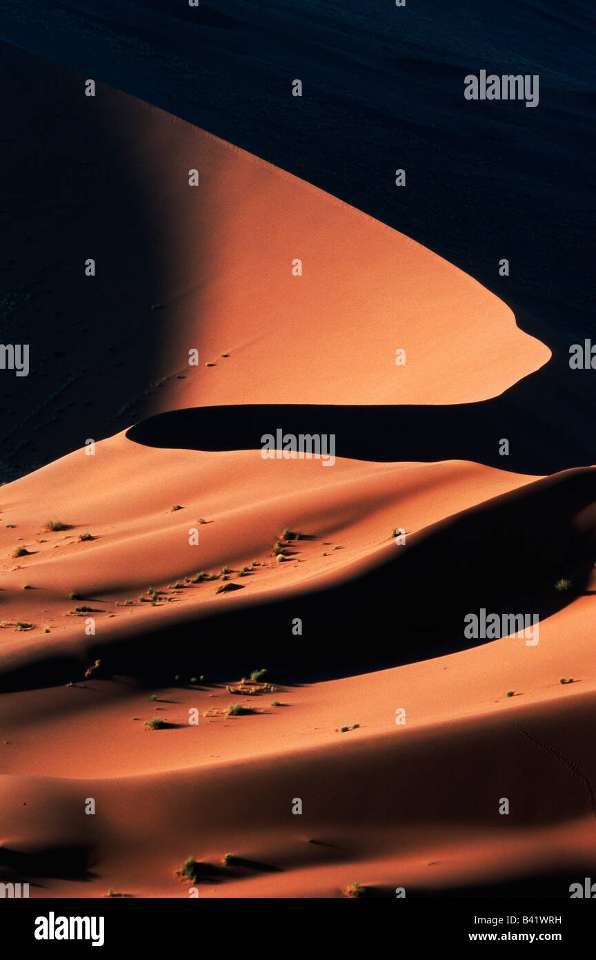 Sand dunes at last light Sossusvlei Namib Naukluft National Park Namibia Africa - Stock Image