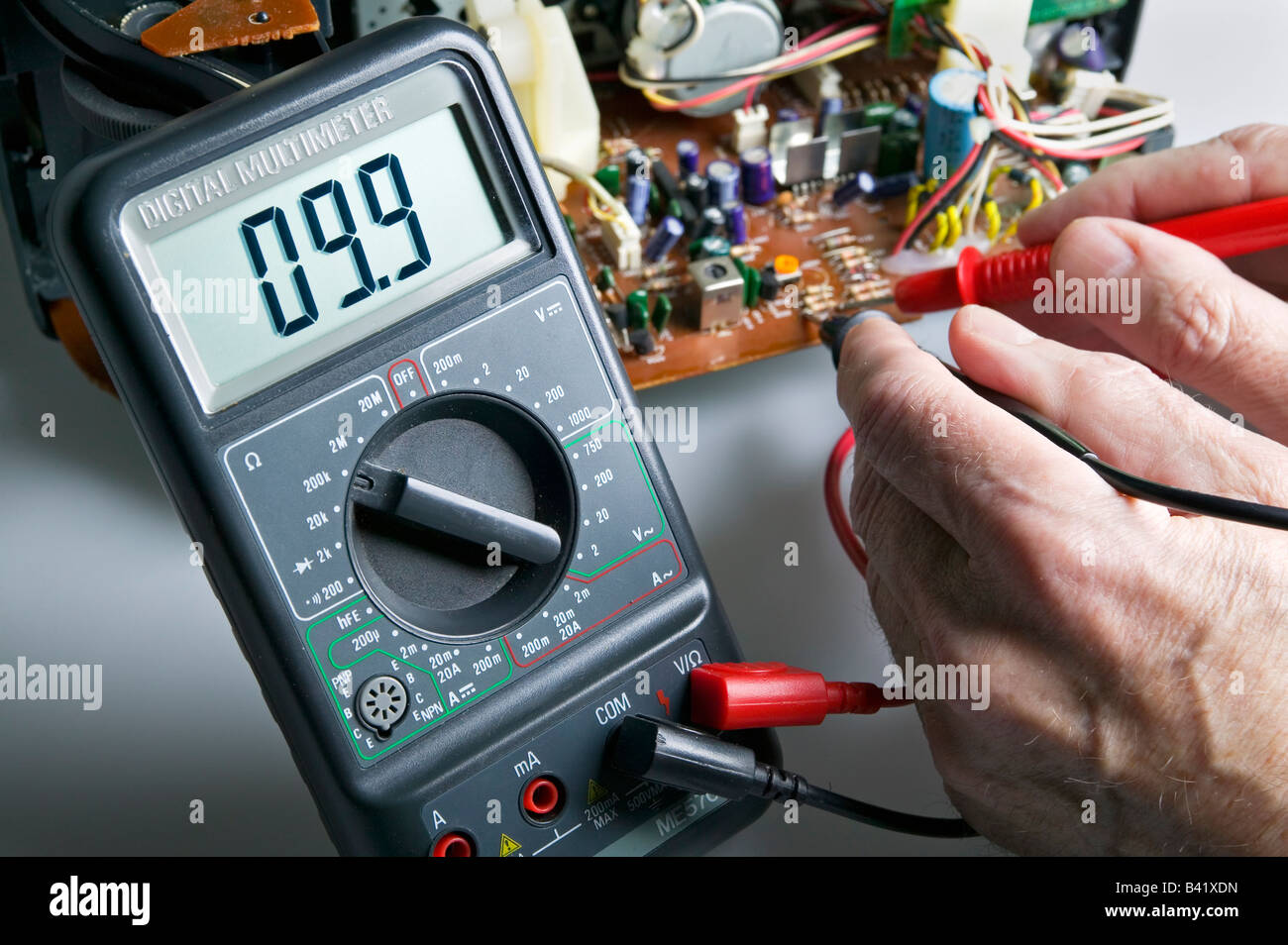 Multimeter Stock Photos Images Alamy Test Car Fuse Box A Digital Being Used To Check Resistance On Circuit Board Image