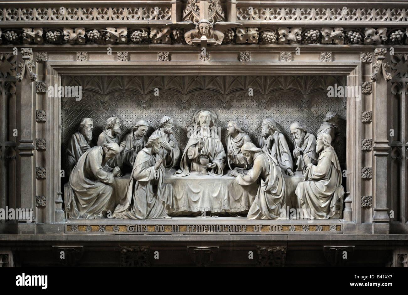 "Carved stone reredos, ""The Last Supper"". Church of Saint Michael the Archangel, Whittington, Lancashire, England, United Kingdom Stock Photo"