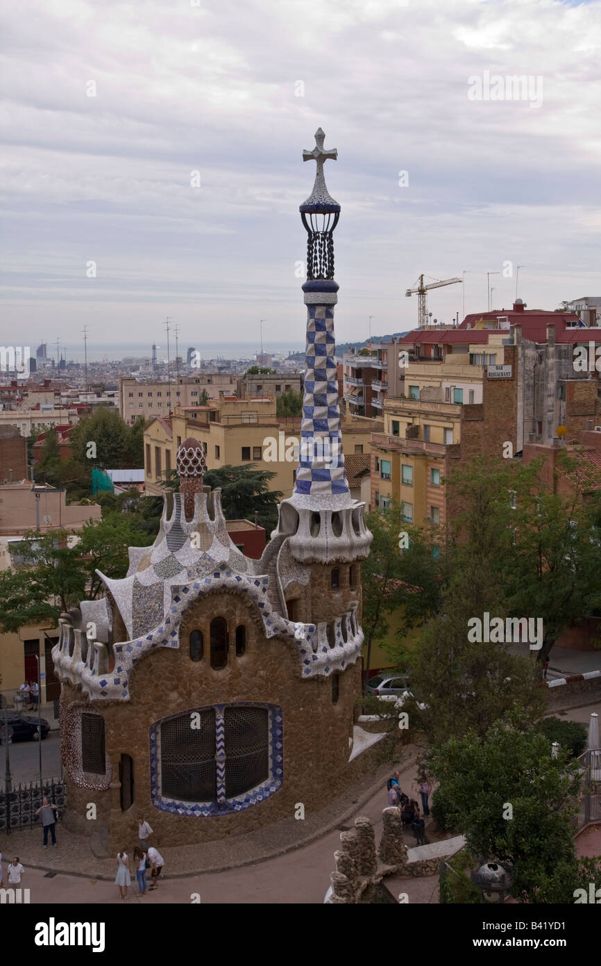 Gatehouse at Parc Guell in Barcelona Spain - Stock Image