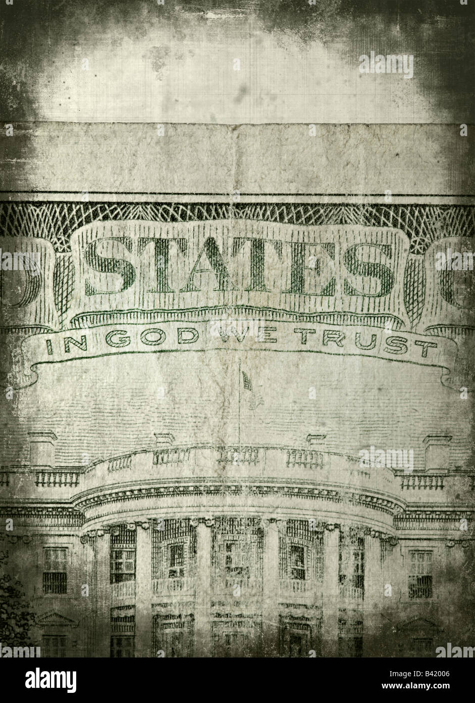 In God We Trust - detail of U S Dollar bill - Stock Image