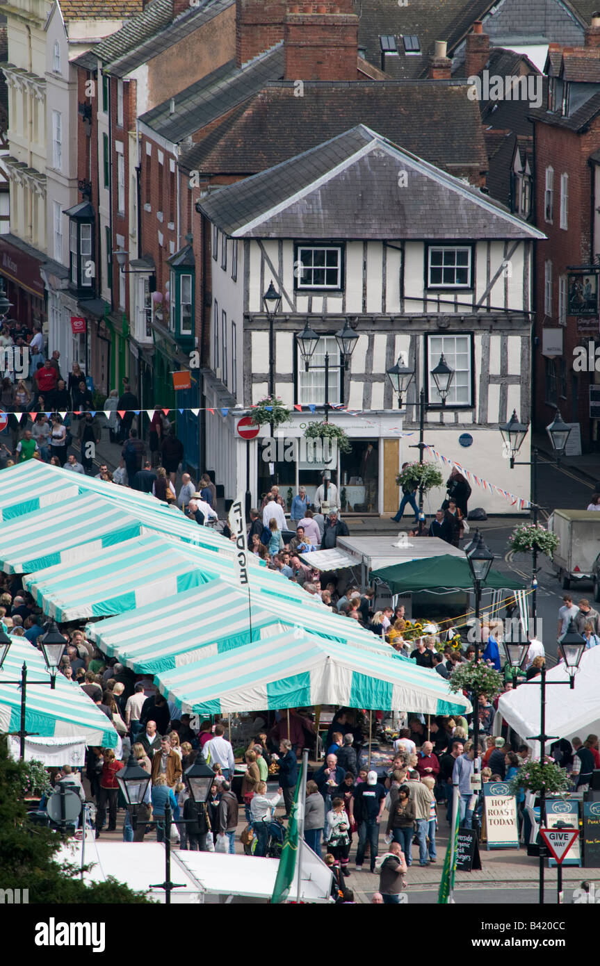 General view of the stalls and traders at the Food festival Ludlow Shropshire England UK - Stock Image