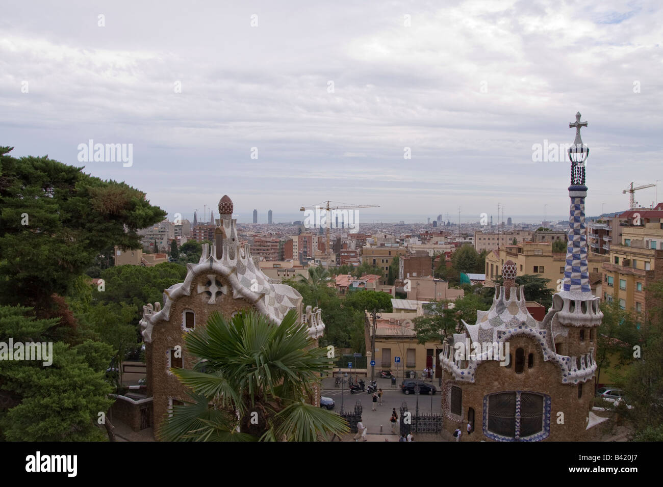 View of the entrance of Parc Guell in Barcelona Spain - Stock Image