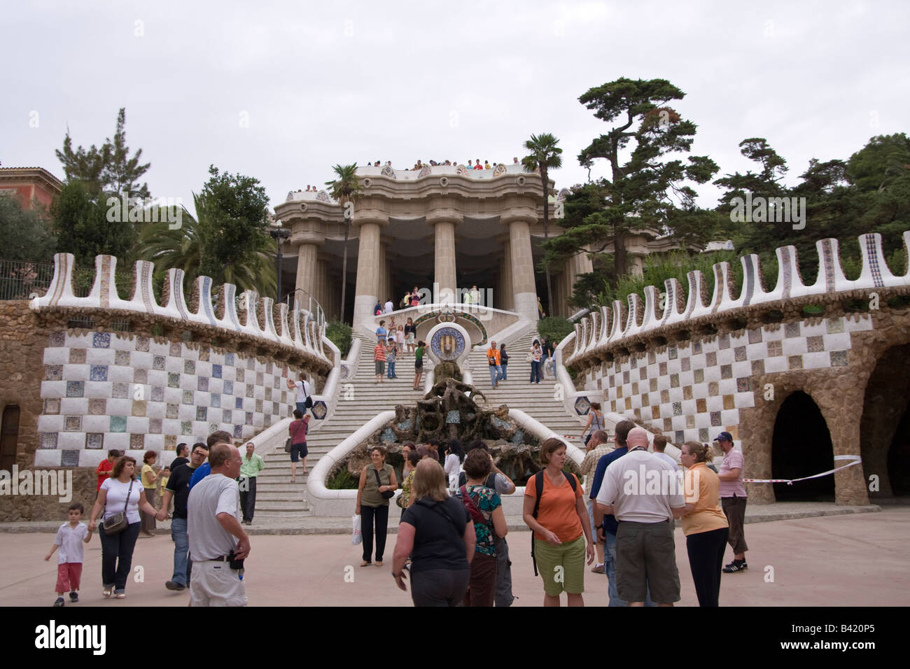 Entrance to Parc Guell in Barcelona Spain - Stock Image