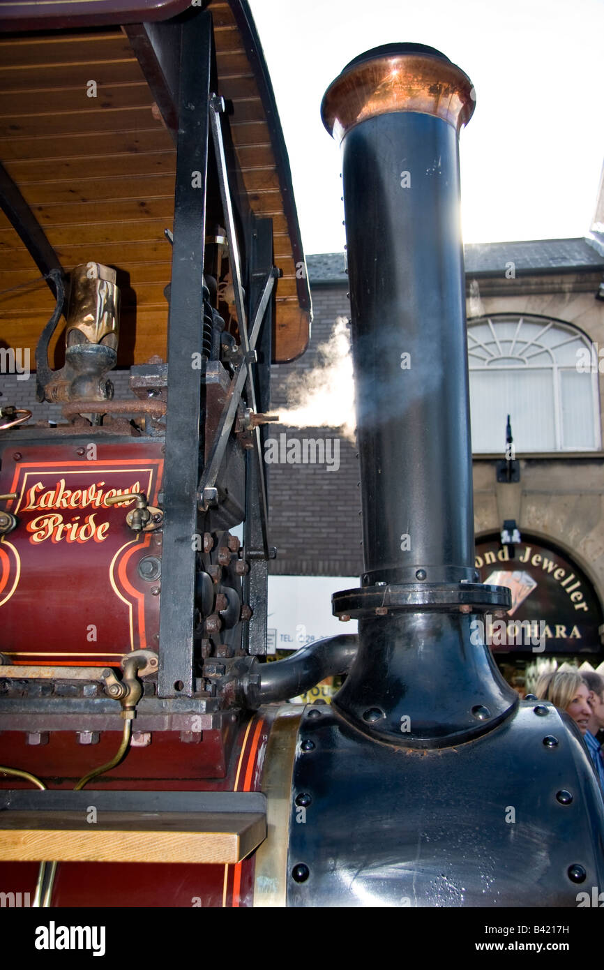 the chimney of the 'Lakeview Pride' steam traction engine - Stock Image