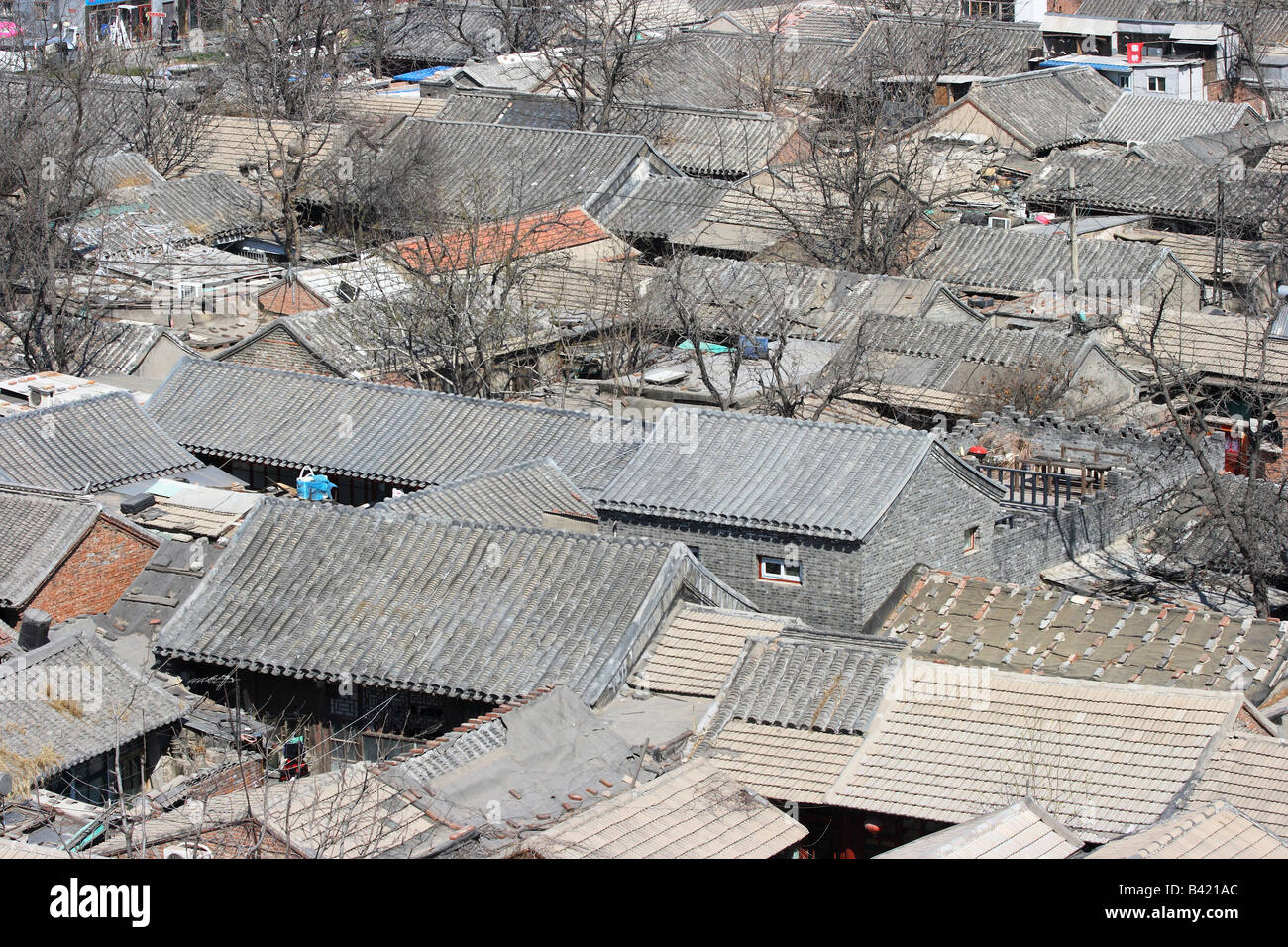 Roofs of impoverished houses in Beijing, China - Stock Image