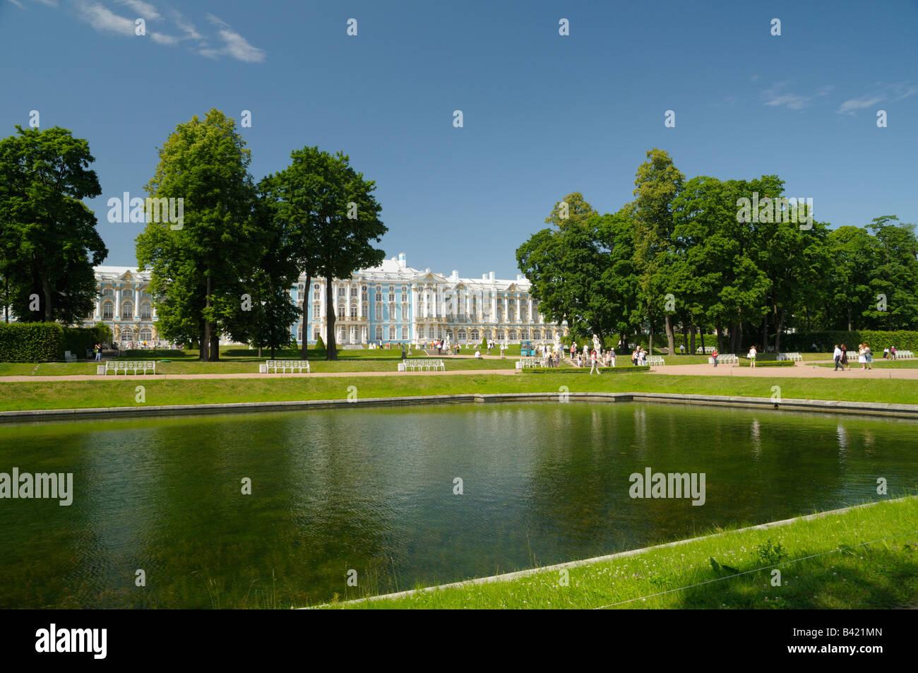 Pond in park against Catherine Palace, Tsarskoe Selo (Pushkin), Russia - Stock Image