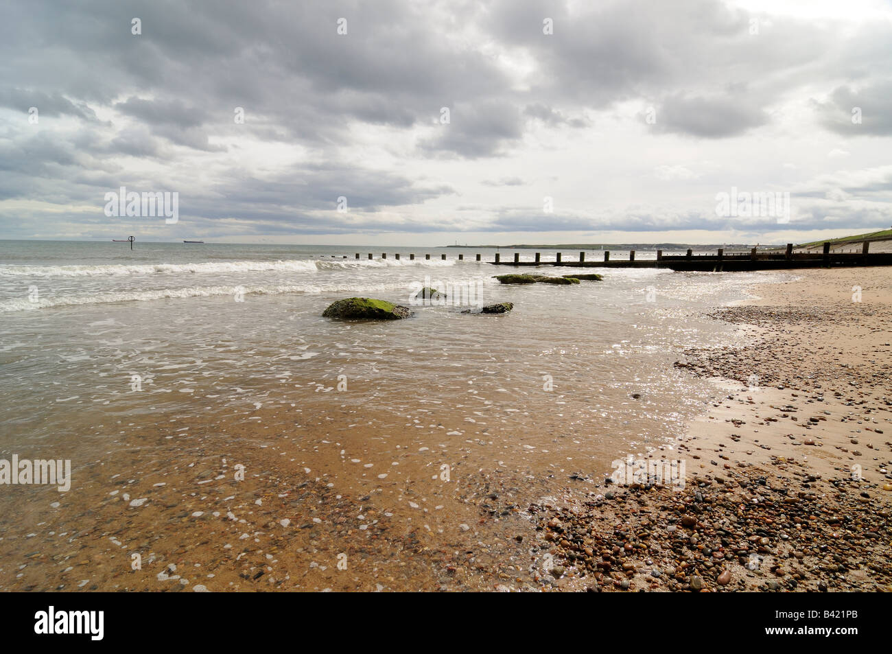 A view from Aberdeen Beach, looking from the end to end of Aberdeen Beach. - Stock Image