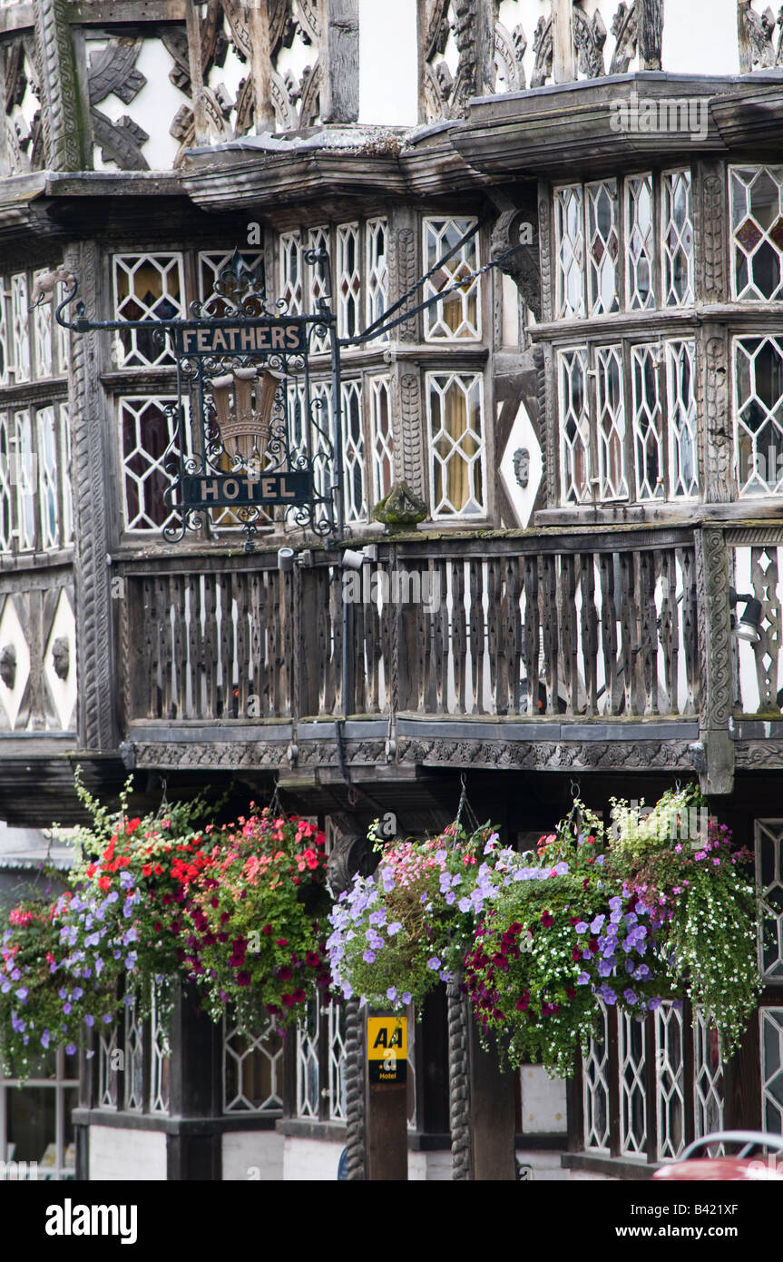 Facade of the The Feathers Hotel old half timbered building in Ludlow town centre Shropshire England UK - Stock Image