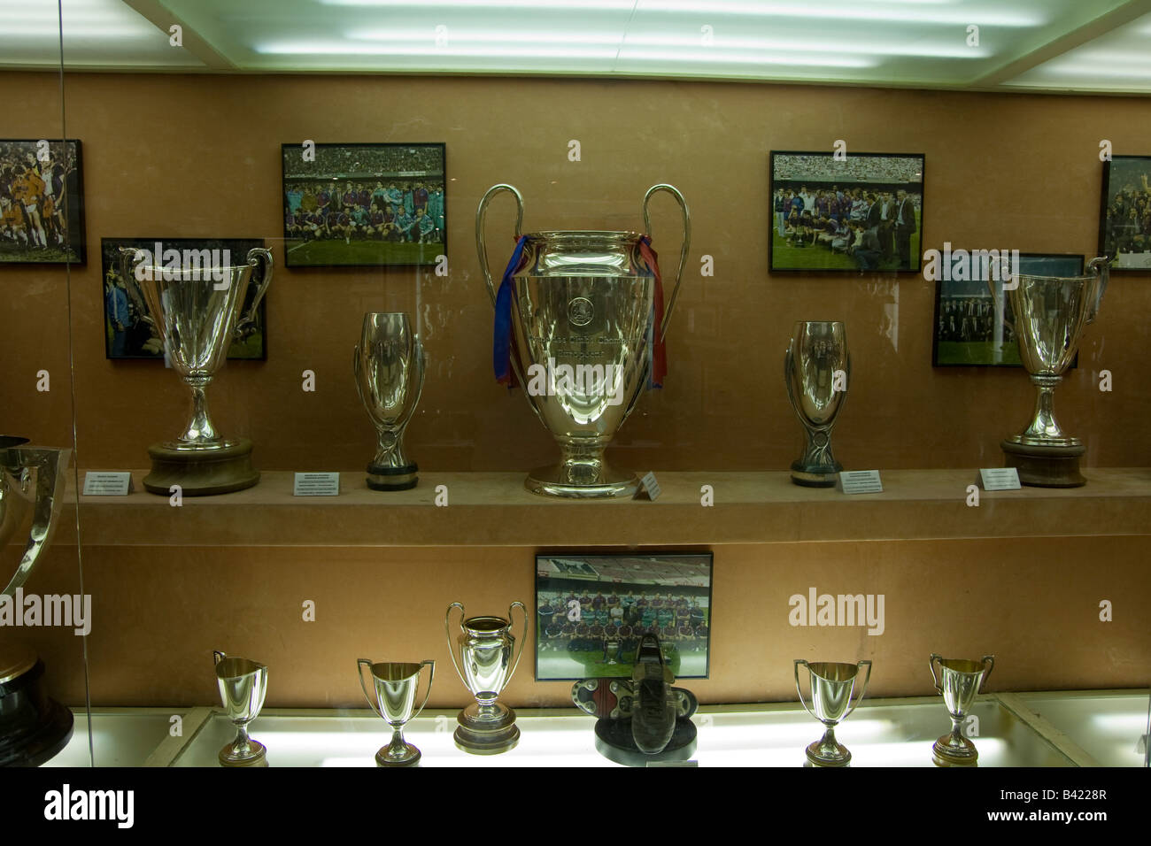 Silverware On Show In The FC Barcelona Club Museum At Nou Camp Stadium Spain