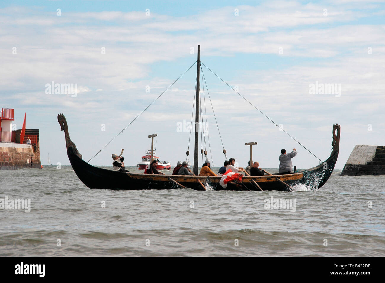The Ardglass vikings -an Irish based reenactment group at the Seafest at Arbroath. - Stock Image